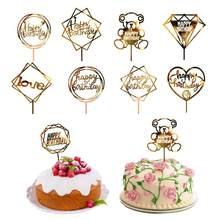 Bolo de acrílico topper mão escrevendo feliz aniversário bolo topper sobremesa decoração para festa de aniversário decoração de casamento suprimentos