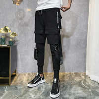 2019 Men Streetwear Pants Black Harem Pants Light Men Punk Pants Ribbons Casual Slim Jogger Pants Men Hip Hop Trousers LBZ138