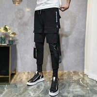 2019 männer Streetwear Hosen Schwarz Harem Hosen Licht Männer Punk Hosen Bänder Beiläufige Dünne Jogger Hosen Männer Hip Hop Hosen LBZ138