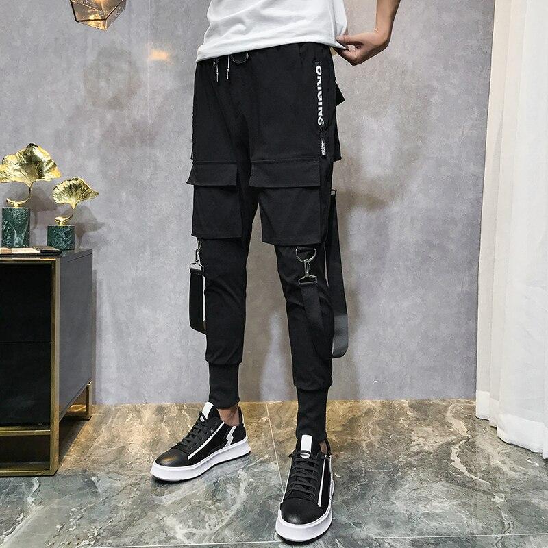 2020 Men Streetwear Pants Black Harem Pants Light Men Punk Pants Ribbons Casual Slim Jogger Pants Men Hip Hop Trousers LBZ138