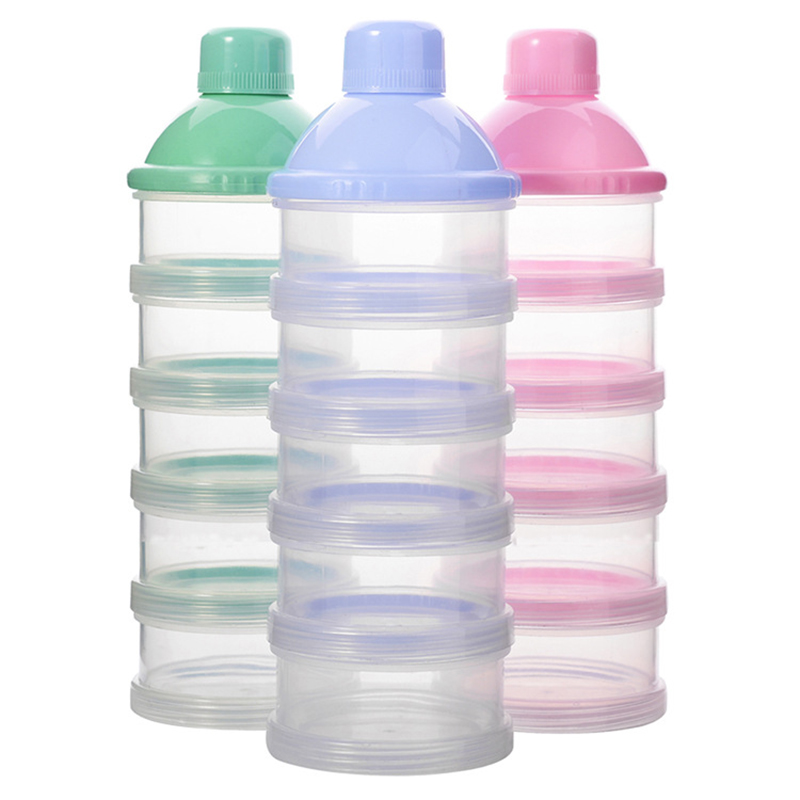 Baby Removable Milk Powder Storage Box Infant Four Grid Feeding Food Boxes Kids Toddler Portable Formula Dispenser Box