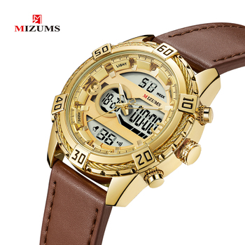 MIZUMS nadgarstka marki M8023 stylowa rozrywka luksusowe zegarek męski wodoodporny zegarek kwarcowy pas świetlny sport elektroniczny zegarek tanie i dobre opinie Podwójny Wyświetlacz Klamra 3Bar Stop 24cm 13mm 24mm Okrągły Kwarcowe Zegarki Na Rękę Papier Skóra Luminous Kompletna kalendarz