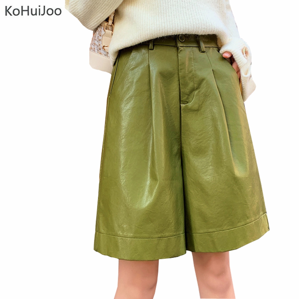 Kohuijoo Ladies PU Leather Shorts Autumn Plus Size Elastic Waist Elastic Waist Straight Knee Length Faux Leather Shorts Women
