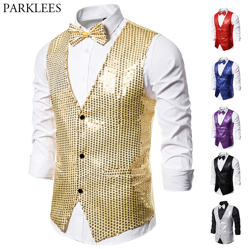 Vests Bowtie Groom Waistcoat Men Wedding Gold Gilet Slim-Fit Men's with V-Neck Dj-Bar
