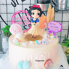 snow white cake toppers party gifts baby kids children girl birthday decoration supplies princess cartoon action figure toys