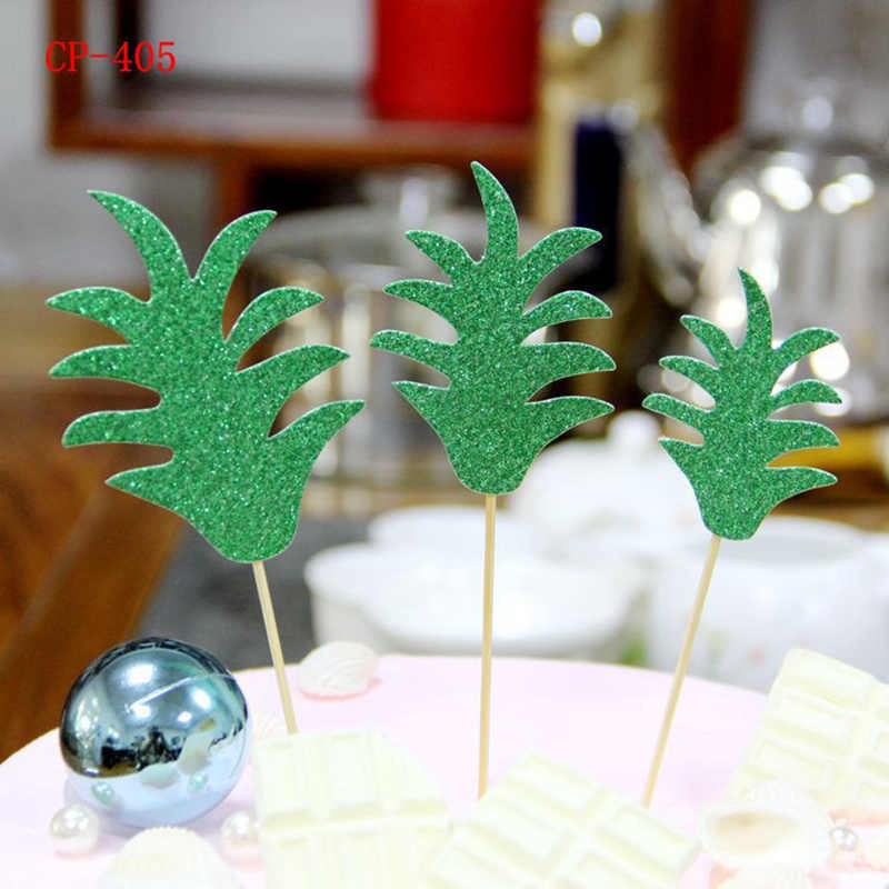 10Pcs ใบสับปะรดเค้ก Toppers ใบปาล์ม Cupcake Toppers Hawaiian Luau PARTY Tropical PARTY Supplies