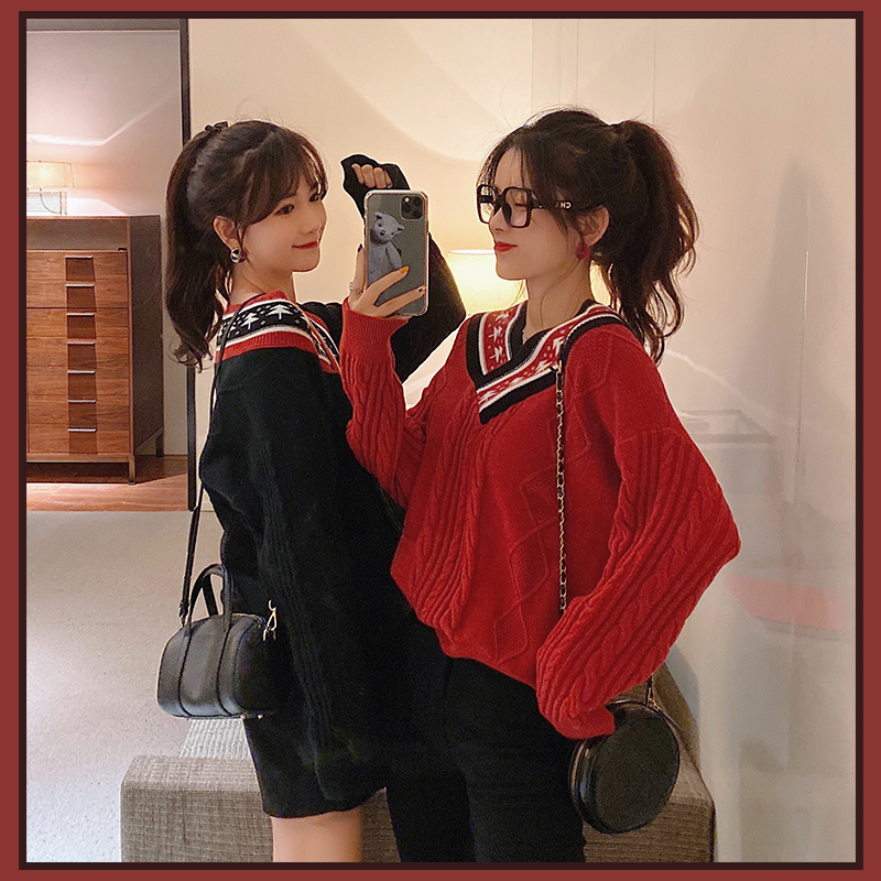 MISHOW Women Winter Spring Vneck Festival Style Sweater Causal Long Sleeve Loose Pullover Tops  MX19D5744