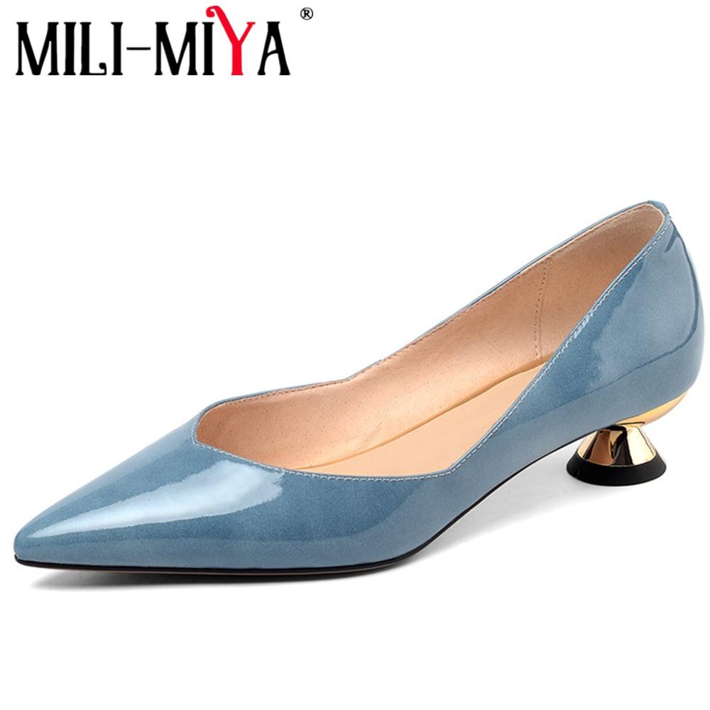MILI-MIYA mode femmes pompes en cuir verni bout pointu vin verre talons bureau et carrière dames chaussures grande taille 34-43 à la main