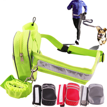 Dog Leash Adjustable Elastic Pet Traction Rope Set Puppy Collar Running Training Lead Waist Belt Dogs Strap Pets Accessories hand free elastic dog leash adjustable padded waist reflective running jogging walking pet lead belt with pouch bags 4 colors