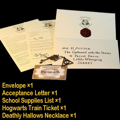 Harri Potter Admission Letter Of Hogwartss Sent Olws To Harri Pack With The Deathly Hallows Necklace And Train Ticket Toys For