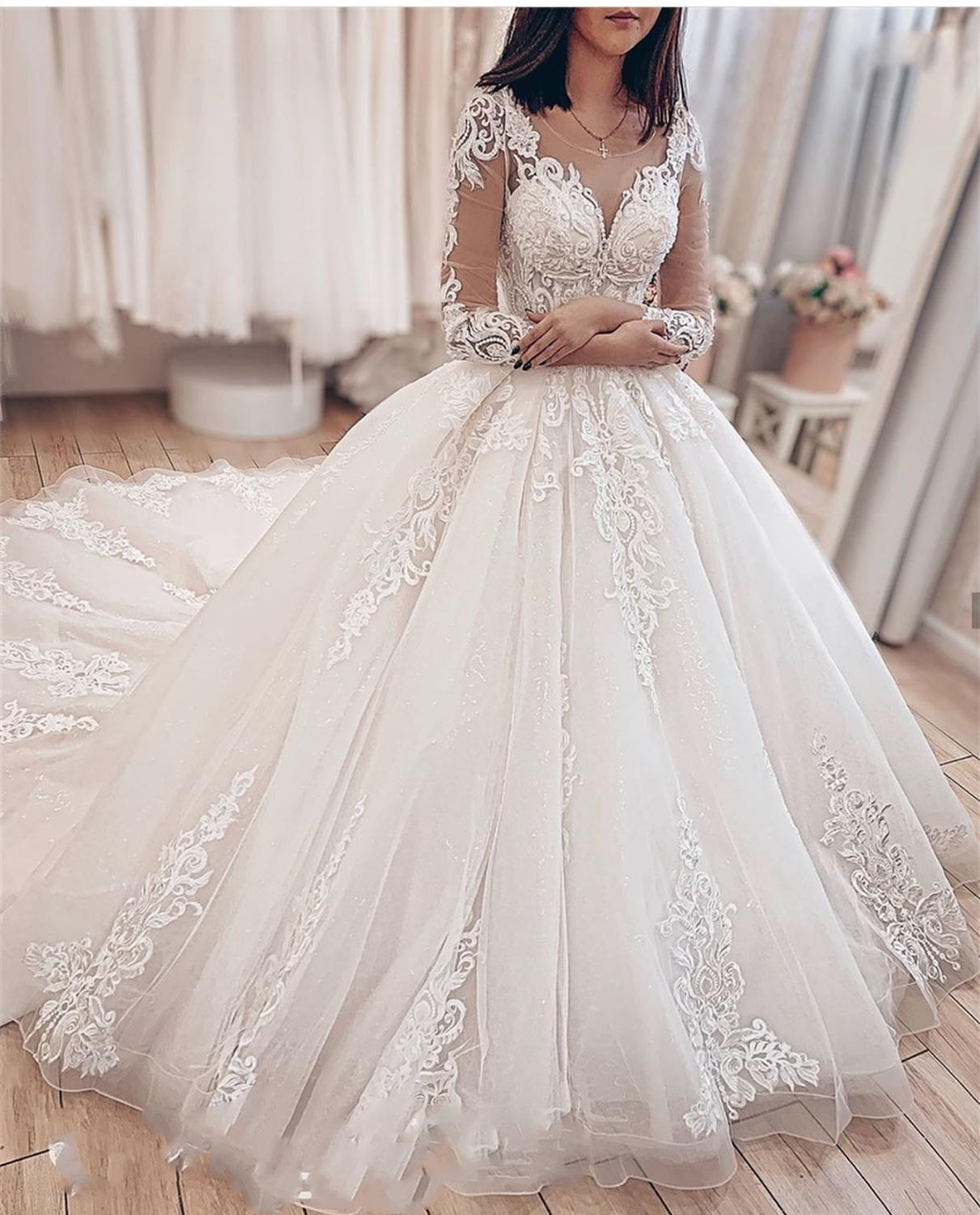 2020 Lastest Wedding Dress Cap Sleeve Ball Gowns Lace High Quality Dubai Luxury Bridal  Gowns Robe Mariage 2019 White Backless