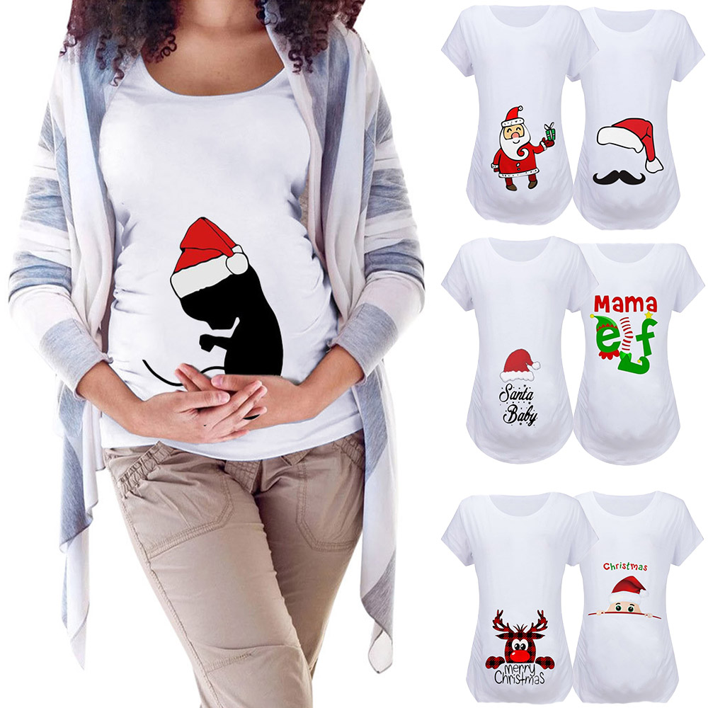 Christmas Santa Women Maternity Clothes Pregnancy Short Sleeve Cartoon Snowman Pregnant T-shirt Tops Embarazada Cotton Blouse