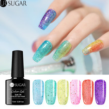 UR SUGAR 7.5ml Holographic Jelly Gel Nail Polish Shining Glitter Sequins Lacquer PurSoakple Pink Soak Off UV Varnish DIY