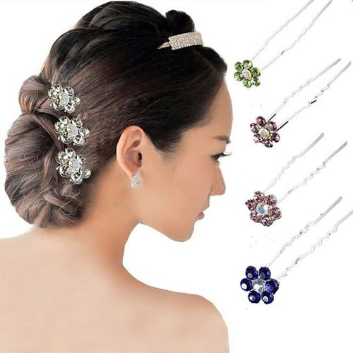 20Pcs Rhinestone Flower Bridal Wedding Party Hair Clip Hairpin Hair Accessories Stylish Rhinestone Flower Hair Clip, Fashionable
