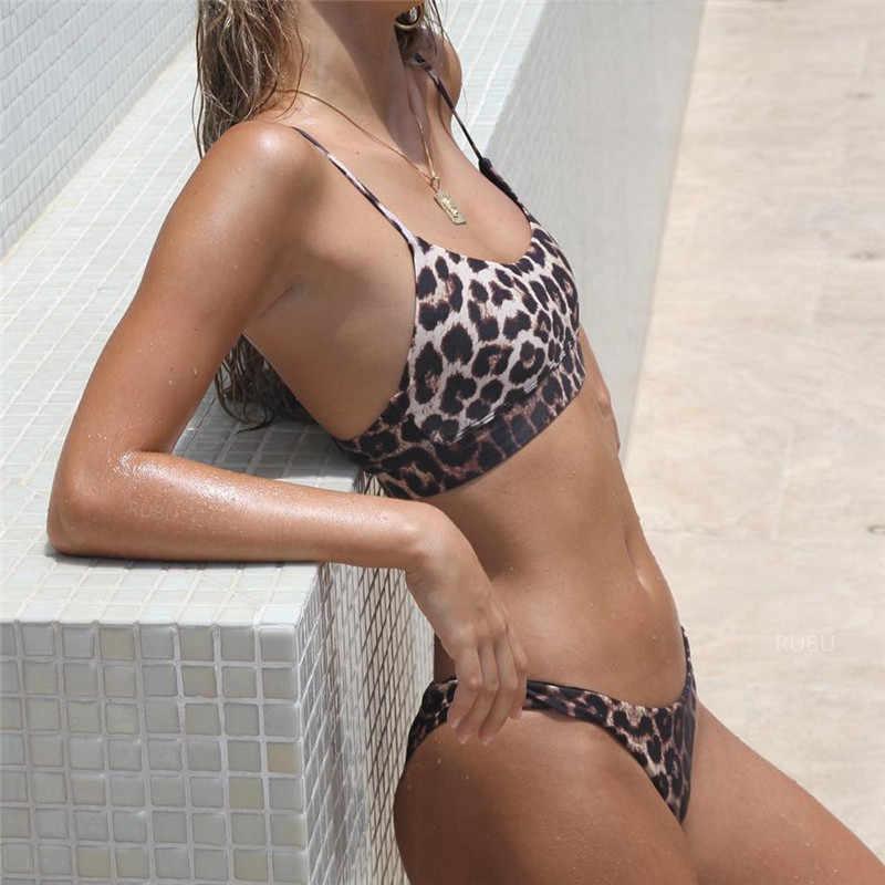 Sexy Bikini Frauen Leopard Druck Push-Up Padded Bh Strand Bikini Set Badeanzug Bademode Sommer Schwimmen Anzug Dreieck Bademode