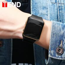 Moda męska zegarek kobiety Casual sportowe bransoletki z zegarkiem biały LED elektroniczny cyfrowy cukierki kolor silikonowy zegarek na rękę dzieci tanie tanio WYDAJĄ (手表) 27inch Z tworzywa sztucznego Skóra wdrażania wiadro Nie wodoodporne Moda casual Cyfrowe Zegarki Na Rękę