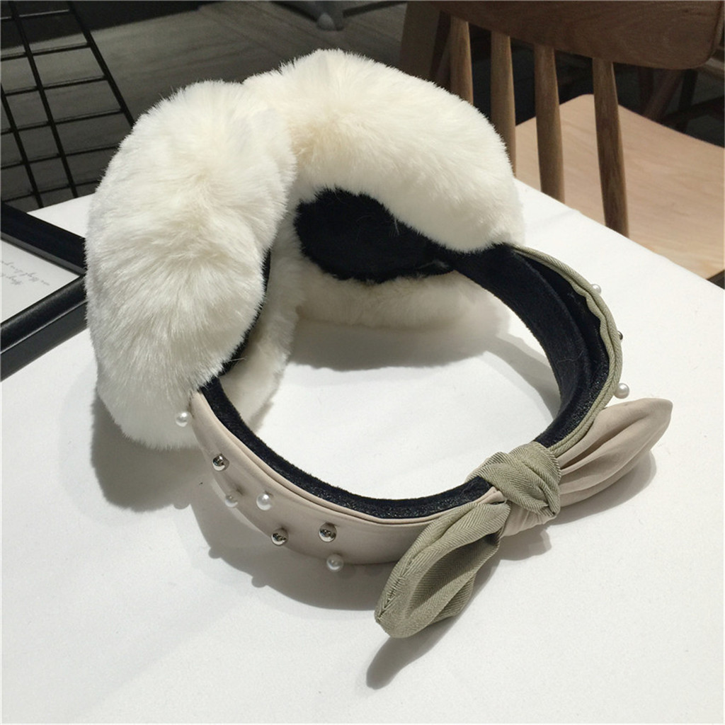 Ear Muffs Women Funny Winter Earmuffs Faux Fur Headband Bow Pearl Warmer Plush Party Oorwarmers
