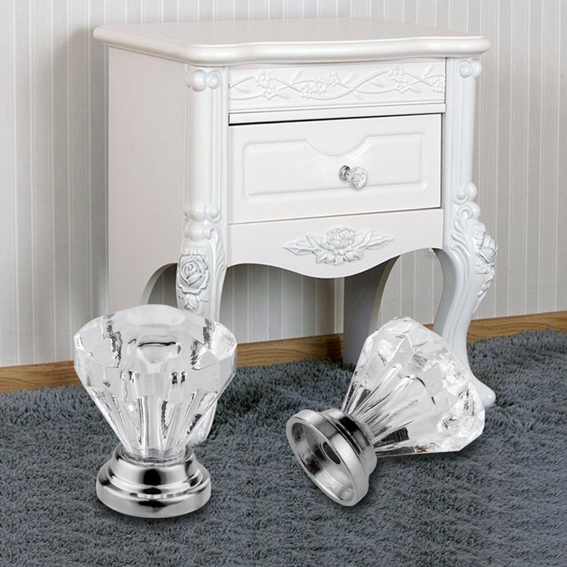 1pcs Portable Cabinets Pull Handles DIY Drawer Plastic Knobs Diamond Knob Alloy Door 30mm Door Crystal Wardrobe Pull Knobs