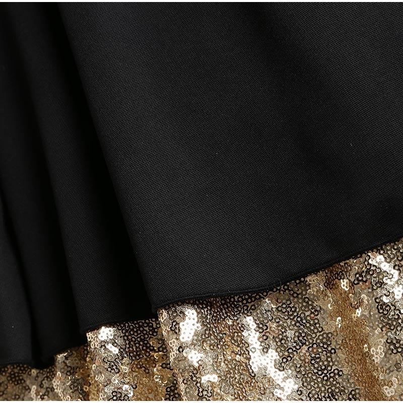 Deniz 送料無料 プラスサイズ セクシーなゴールデンスパンコール透明メッシュ挿入パーティードレス女性ノースリーブキラキラ非対称裾セクシーなミディドレス