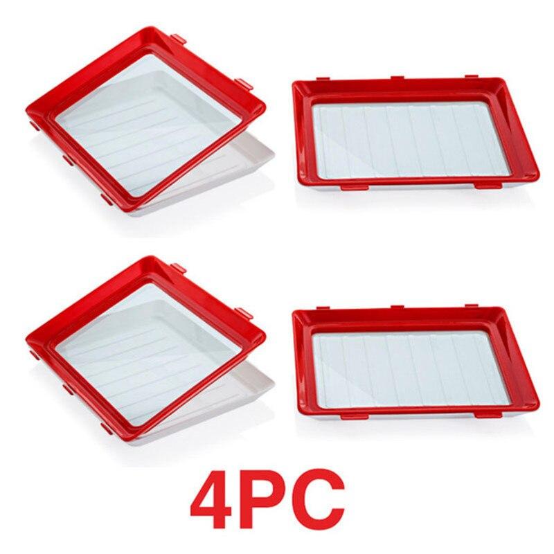 Комплект из 4 предметов хранения свежих Spacer лоток для хранения Кухня Органайзер квадратная крышка лотка многоразовый поднос герметичный ...