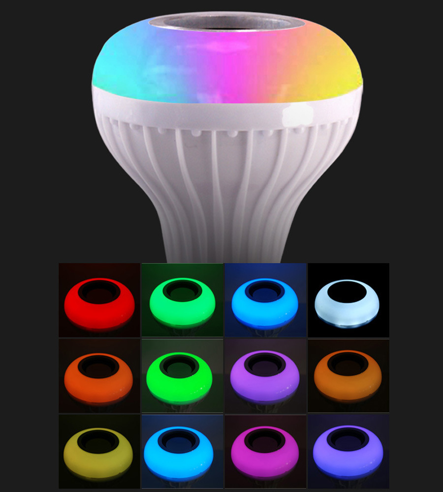 Smart E27 RGB Bluetooth Speaker LED Bulb Light 12W Music Playing Dimmable Wireless Led Lamp with 24 Keys Remote Control (5)