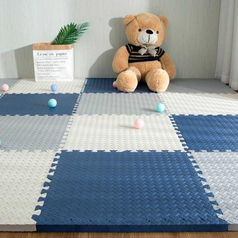 18 parça çocuk bebek EVA köpük oyun bulmaca matı siyah ve beyaz zincir spor karo zemin halı ve çocuk halı