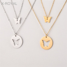 X-ROYAL 2019 Hollow Butterfly Pendant Necklace For Women Wedding Double Layers Stainless Steel Fashion Choker Charm Necklaces fashion double layers metal pendant necklace