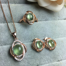MeiBaPJ Natural Prehnite Gemstone Earrings Ring and Necklace for Women Real 925 Sterling Silver Green Stone Fine Jewelry Set(China)