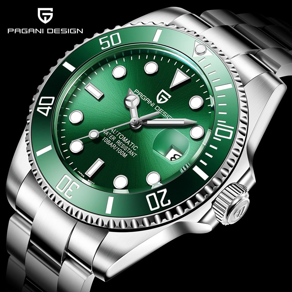 PAGANI Design Brand Luxury Men Watches Automatic Black Watch Men Stainless Steel Waterproof Business Sport Mechanical Wristwatch 1