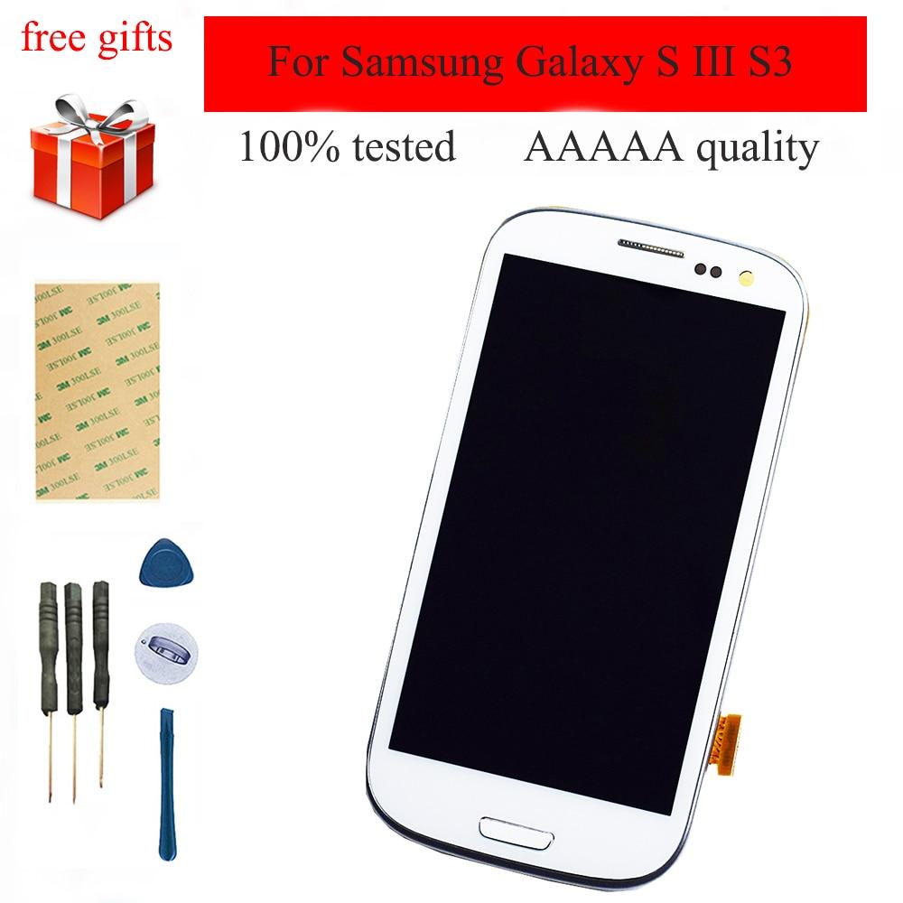 Para Samsung Galaxy S III i9300 i9301 S3 i9305 i535 i747 9300I Painel Display LCD + Digitador Da Tela de Toque Do Sensor quadro montagem