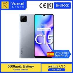 В наличии глобальная версия Realme C15 смартфон 4 Гб 64 Гб 6,5 ''мини-капля Экран 13MP AI Quad камеры Helio G35 6000 мА/ч, 18W зарядное устройство