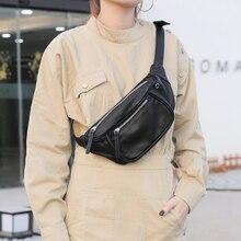 Clássico luxo litchi padrão cintura saco coreano zíper peito saco macio pacote de couro do vintage senhoras ombro cinto