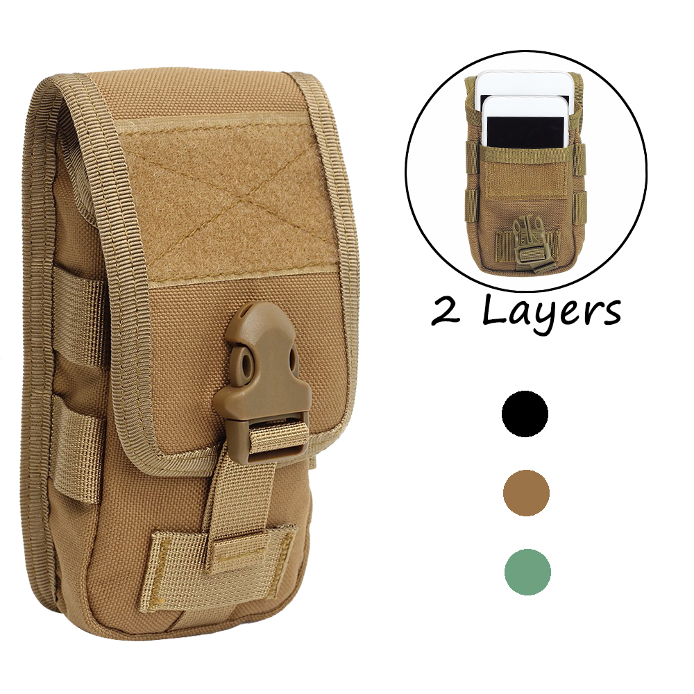 Molle Phone Pouch Double-Layer Tactical Outdoor Wallet Waist Bag Accessory EDC Bag Belt Military Hunting Molle Fanny Bag