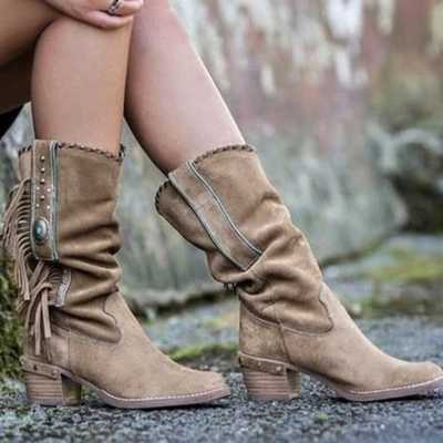 2020 Thu Bohemian Giày Nữ Dân Tộc Tua Rua Viền Giả Da Lộn Giữa Nửa Giày Người Phụ Nữ Vuông Gót Boot
