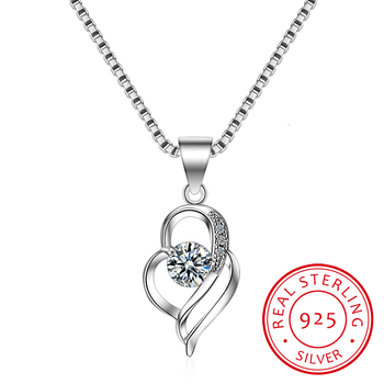 New Luxury Crystal Cz Heart Pendant Choker Necklace 925 Sterling Silver Chain Necklaces For Women Wedding Fine Jewelry Gifts image