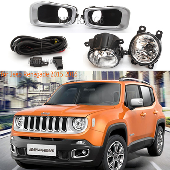 цена на For Jeep Renegade 2015-2018 Front Bumper Fog Light Cover Wires switch Kit Driving Lamp fog lights frame foglight