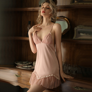 Image 3 - Spring Women Ice Silk Beautiful Back V neck Nightgown Home Clothing Temptation Night Dress Nighties Lace Floral Nightwear