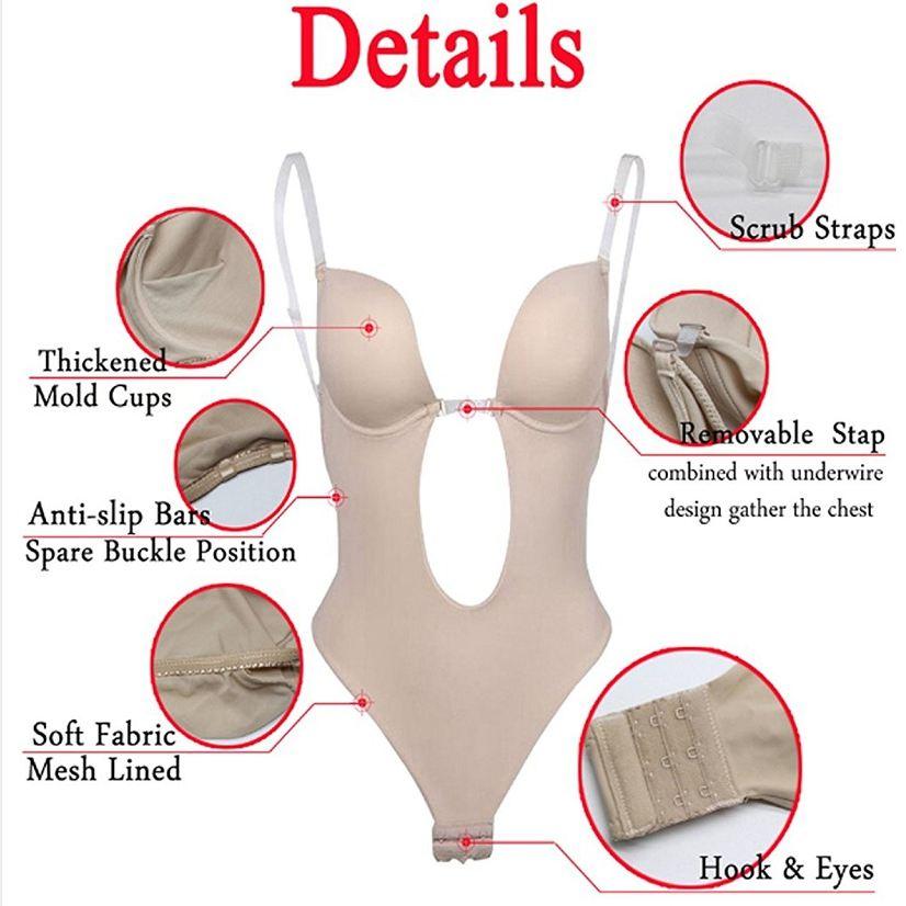 Women Slimming Body Shapers Slips Shapewear Deep U Plunge Bra Seamless Push Up Bra Thong Underwear Backless Party Dress Bodysuit in Bodysuits from Underwear Sleepwears