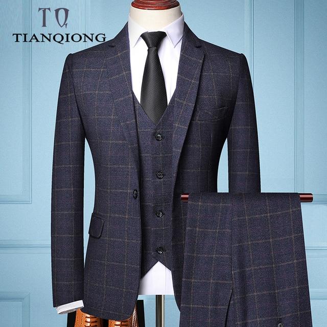 Three-piece Male Formal Business Plaids Suit for Men's Fashion   3