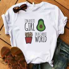 I'm A Keto Girl In A Carbie World Print T-shirts Women 2020 Cartoon Avocado Tees Classic Short Sleeve Tshirts Girls