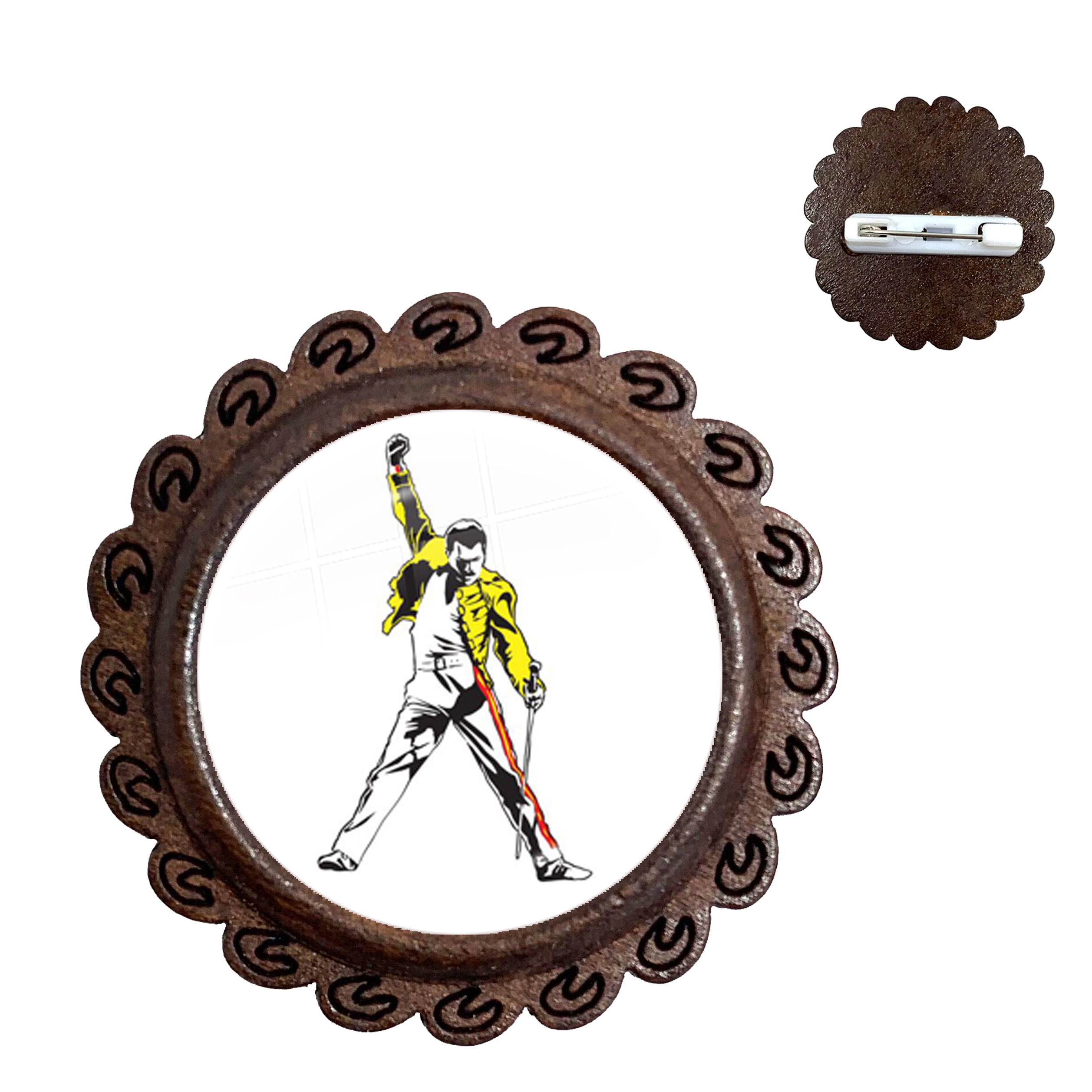 Retro Style 20mm Glass Cabochon Freddie Mercury Wood Brooches Cute Jewelry Accessories For Men Women Collar Pins Gift thumbnail