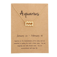 Vintage 12 Constellation Aquarius Pendant Necklaces Virgo Necklace Birthday Gifts Message Card for Women Girl Jewelry