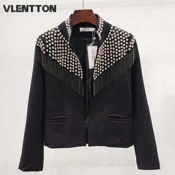 2020 Spring Black White Streetwear Rivet Tassel Blazer Jacket Women Solid Short Suit Coat Female Tops Korean Cardigan Outwear
