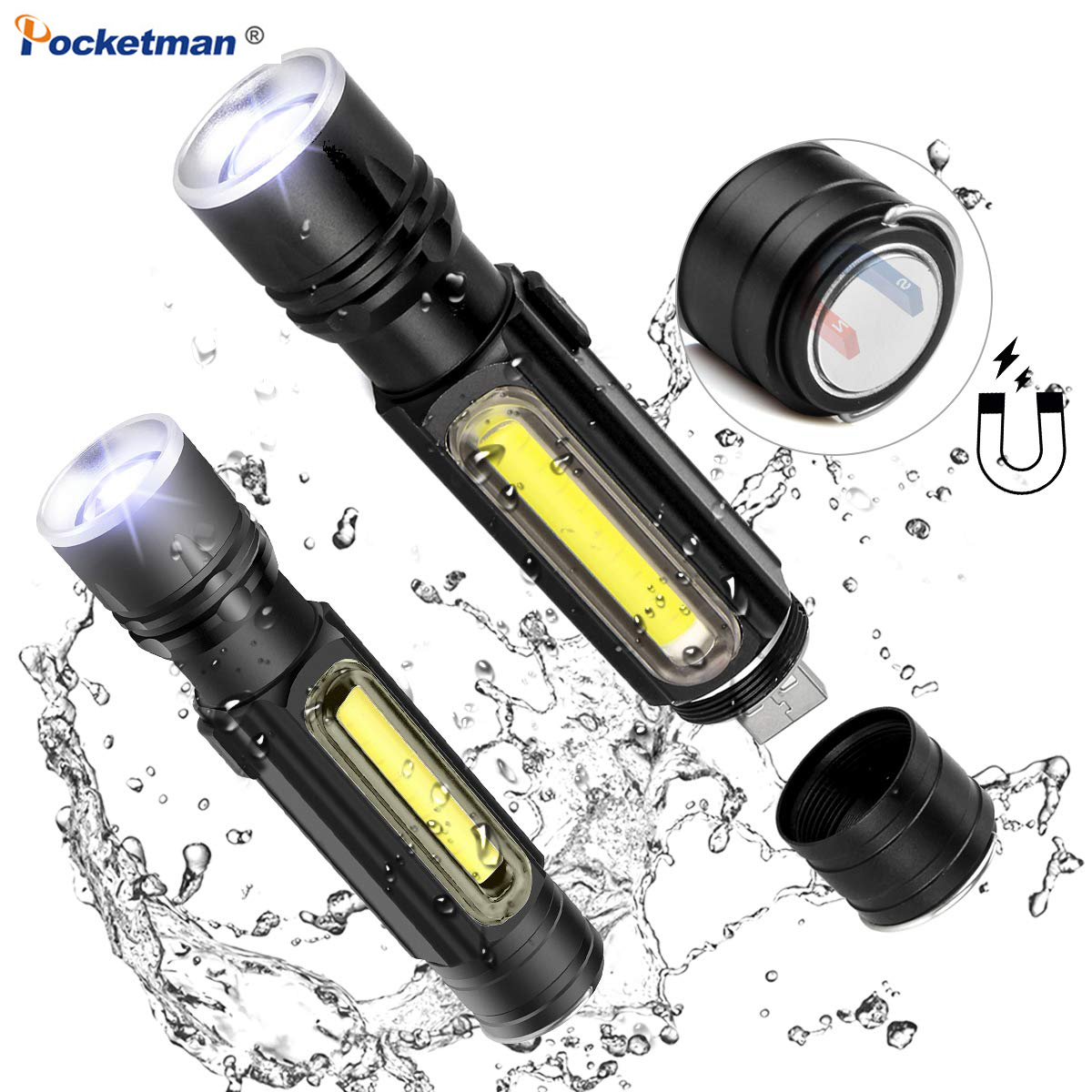 5000LM Portable LED Flashlight USB Rechargeable Battery Powerful T6 Torch Side COB Light Linterna Tail Magnet Work Light