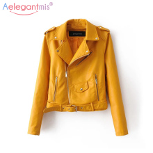 Aelegantmis, осенняя Новинка, короткая куртка из искусственной мягкой кожи, женская модная мотоциклетная куртка из искусственной кожи на молнии, Женская Базовая уличная куртка