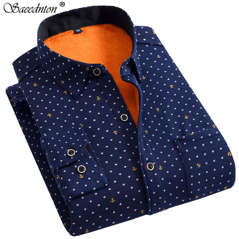 2019 Winter Men's Cotton Polka Dot Thick Warm Plaid Dress Shirts Men Long Sleeve Casual Slim Fit Camisa Social Plus Velvet Shirt