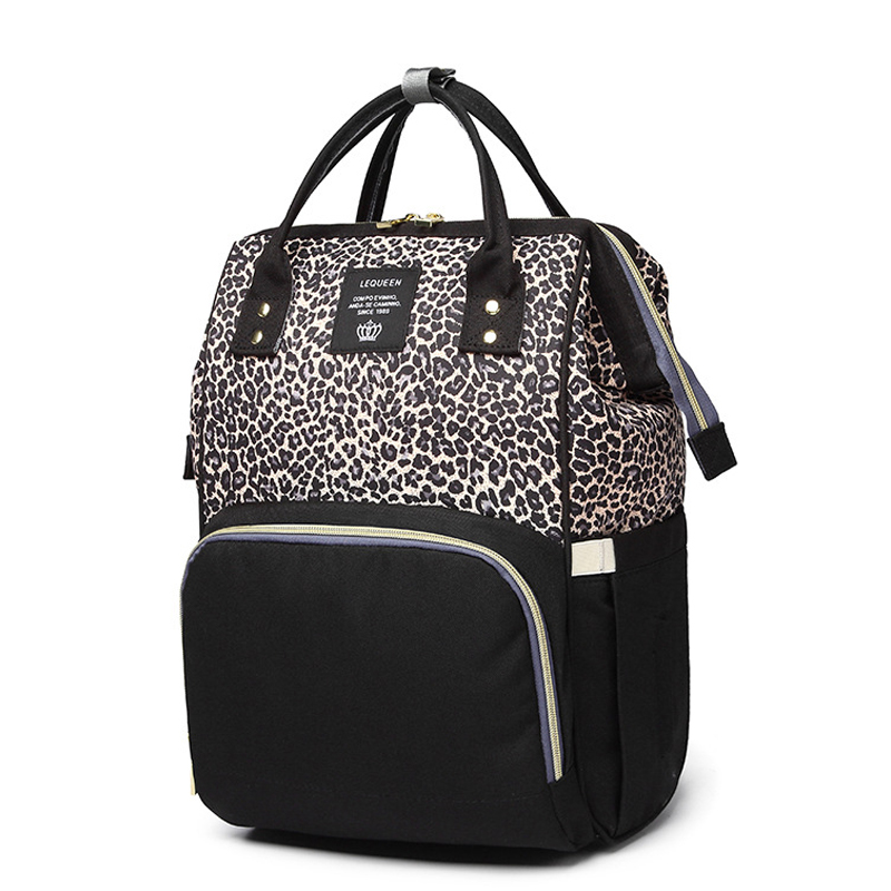 Fashion Baby Bag For Mommy Leopard Diaper Bag Backpack Travel Waterproof Nappy Changing Maternity Bags