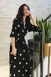 Image 5 - Fashion V neck Ladies Long Dress Casual Half Sleeve Dot Dress Female New Dresses SuperAen Summer Womens Dress Korean Style