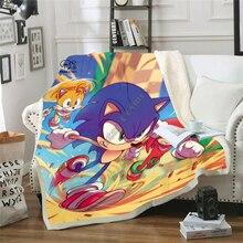 Plstar Cosmos Cartoon Fleece Blanket Anime Super Sonic Blanket 3D print Sherpa Blanket on Bed Home Textiles Dreamlike style-1