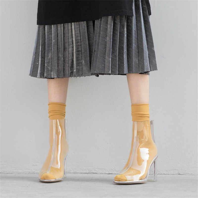 Sıcak Satış Peep Toe PVC yarım çizmeler Kadınlar Şeffaf Şeffaf Tıknaz Yüksek Topuklu Çizmeler Kadın Moda Geri Fermuar kısa çizmeler Sonbahar